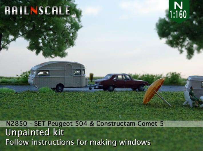 SET Peugeot 504 & Constructam Comet 5 (N 1:160) 3d printed