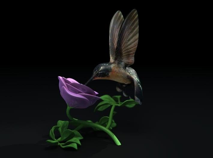 "Hummingbird And Rose (4"" tall) 3d printed"