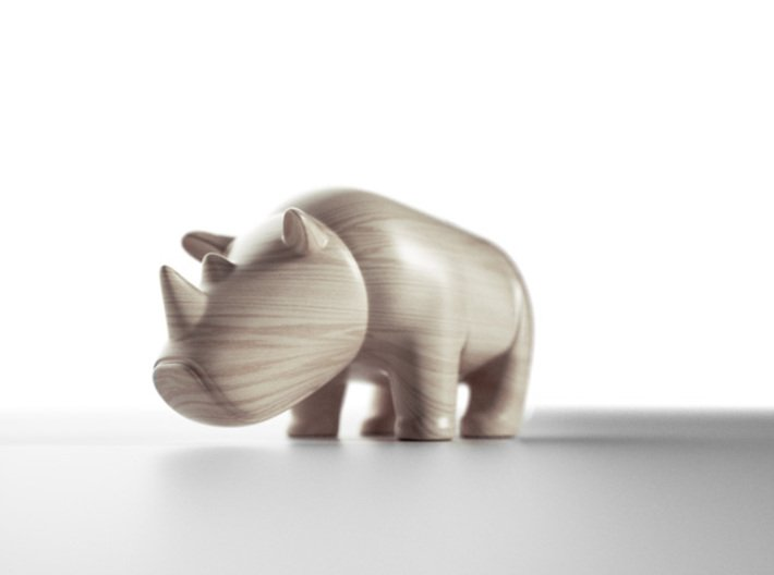 Rhino 3d printed wooden toy