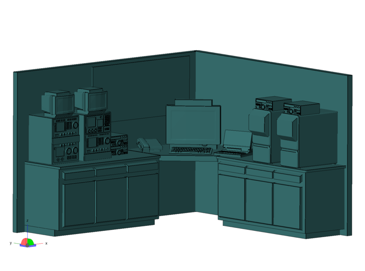 1/87 Scale Ham Radio Station Room 3d printed Close up render showing whats here.