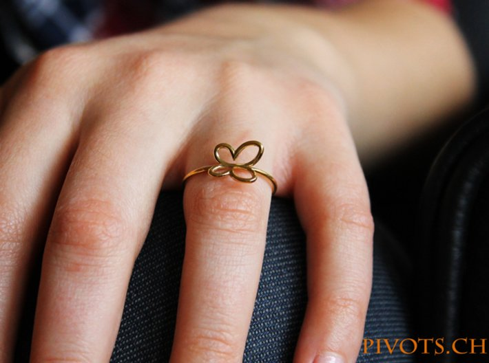 Butterfly Ring 3d printed Model wearing the Butterfly ring