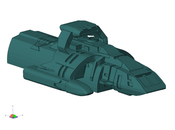 1/1000 Scale Scamper Freighter Long x4 3d printed Coming in with a hot load, in a hot LZ.