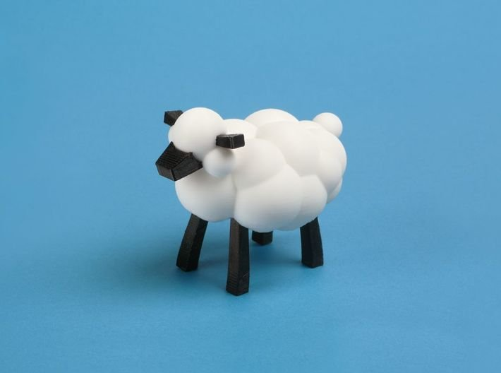 Sheep from LEO the Maker Prince: body section 3d printed sheep body + legs, nose and ears, assembled