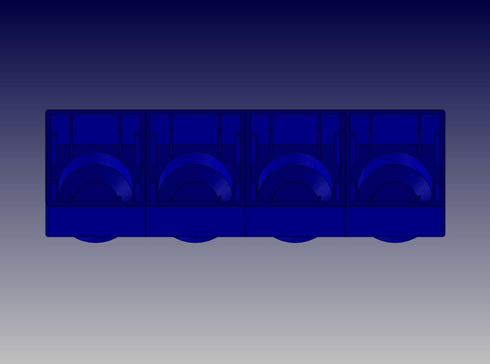 QUAD BLOCK-LONG 3d printed Quad Block-Long-Bottom View