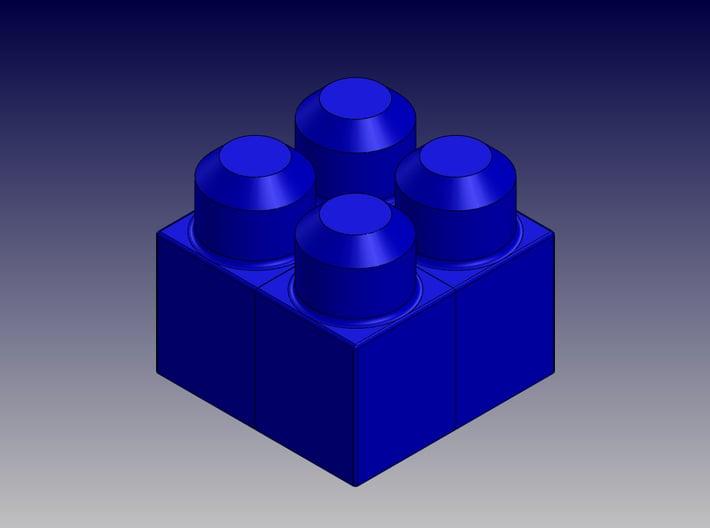 QUAD BLOCK-SQUARE 3d printed Square Quad Block-Isometric View