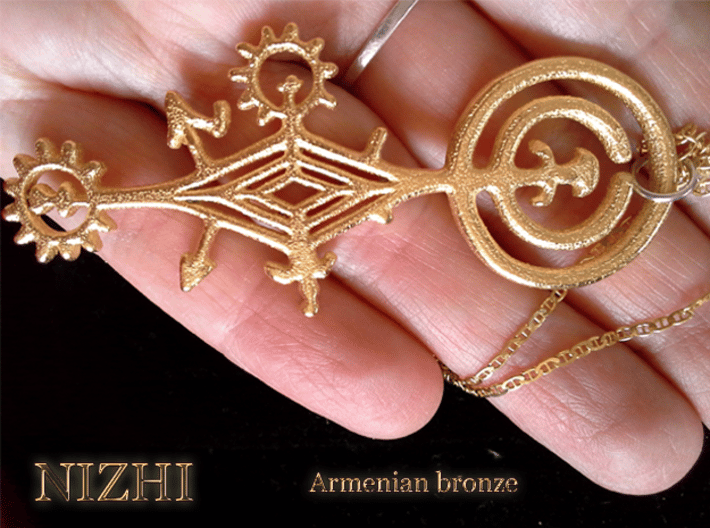 Armenian bronze 3d printed the ring and the chain are not included. This object is unique and a puzzle to see. It probably had a magic use, and it came back to life after more than 3000 years.
