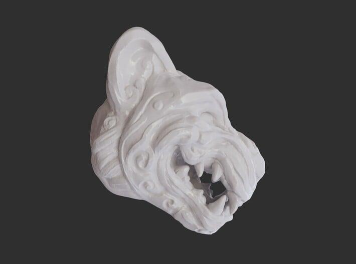 Full Colour Oni Tiger, Miniature Noh Mask 3d printed Glazed Profile Render