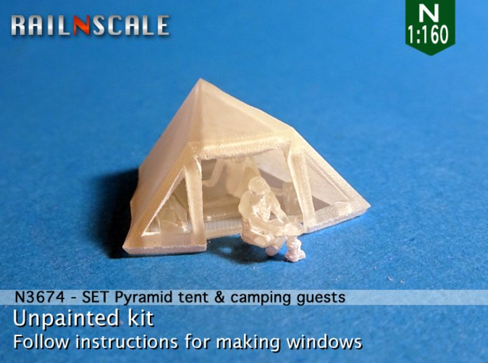 SET Pyramid tent with camping guests (N 1:160) 3d printed