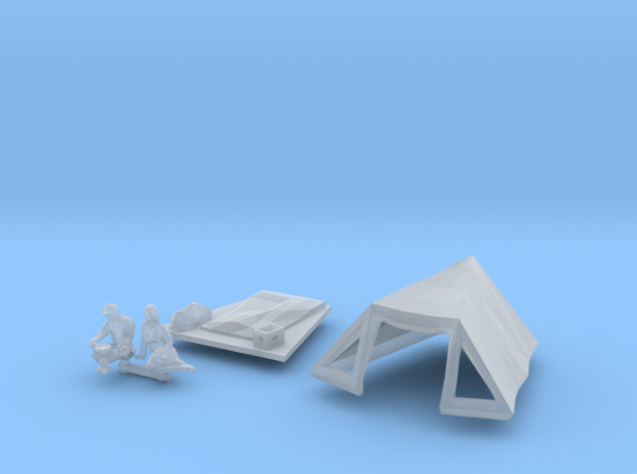 SET Pyramid tent with camping guests (TT 1:120) 3d printed