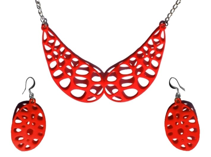 Exteriority Earrings 3d printed Collar Wings Necklace V2 - Coral Red Strong & Flexible