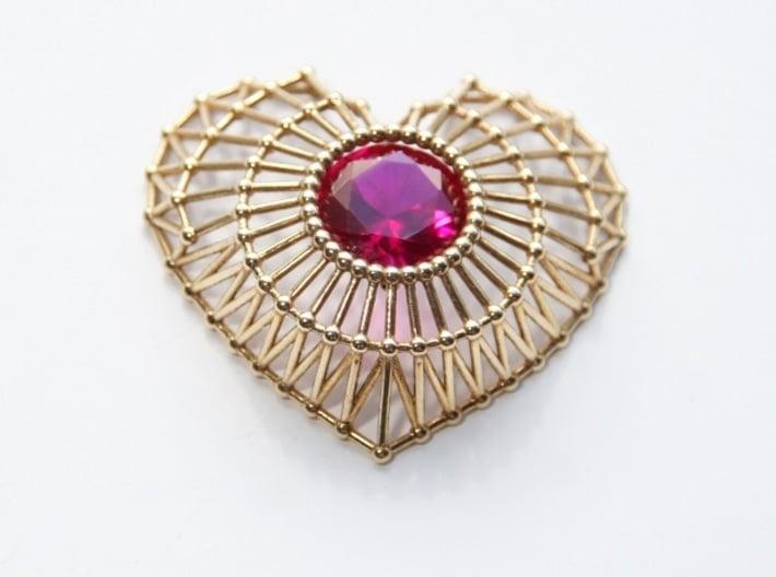 Heart Cage Pendant 3d printed bronze latticework pendant encasing a 14mm conflict-free ruby