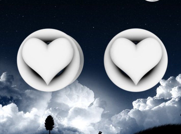 Heart 8mm (0 gauge) tunnels 3d printed Matches Dangle Heart tunnels.