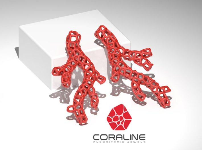 Red Coral Earring 3d printed