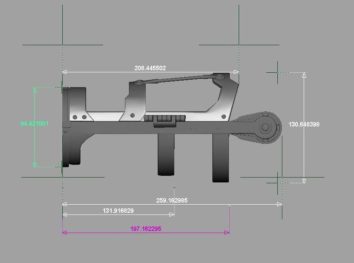 Iron Man Mark III Forearm Frame (Left Side) 3d printed Side Measurements in Millimeters
