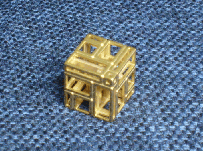 A Simple Imperfect Bricked Cube (SIBC) 3d printed The SIBC in gold plated brass