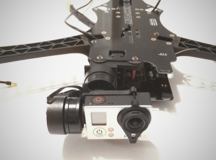 TBS Discovery Gimbal Mount 3d printed Mount with Gimbal and GoPro 3
