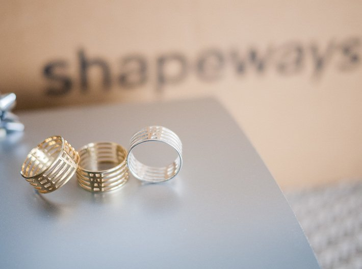 """""""See Through"""" Ring 3d printed a few finishes"""
