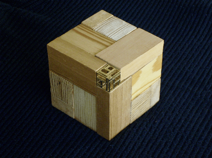 A Simple Imperfect Bricked Cube (SIBC) 3d printed SIBC as a part of a wooden puzzle