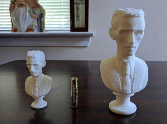 Nikola Tesla Bust Large 3d printed 80 mm (3.1 in) on Left, 132 mm (5.2 in) on Right: See link below.