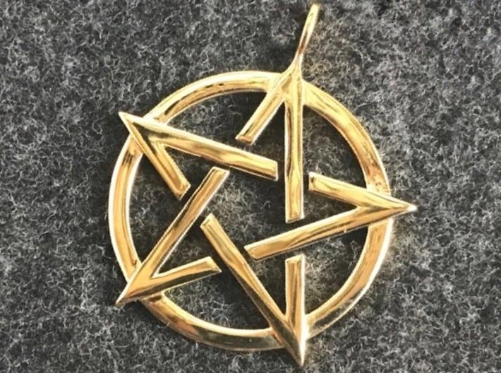 Pentagram Pendant 3d printed Pentacle pendant in polished brass