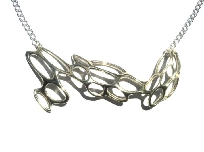 Fantasia Necklace 3d printed Polished Silver