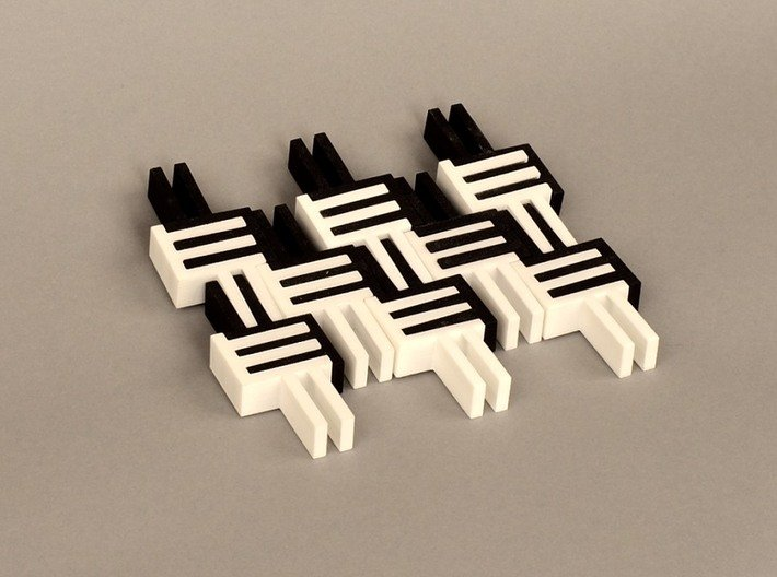Puzzle Cube, Negative (black) pieces 3d printed reassembled as tile..