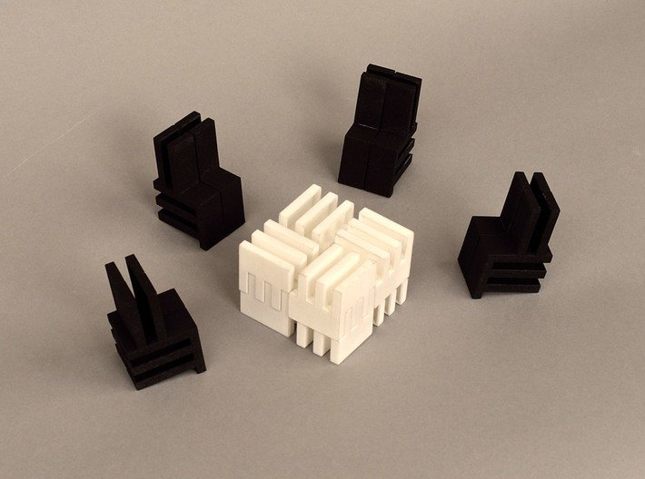 Puzzle Cube, Negative (black) pieces 3d printed reassembled as doll house furniture