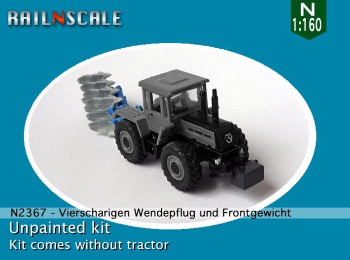 Vierscharige Wendepflug und Frontgewicht (N 1:160) 3d printed