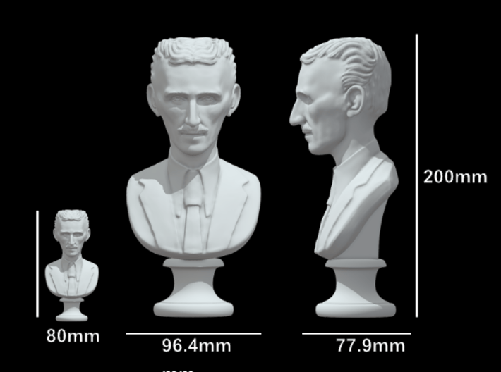 Nikola Tesla Bust XL Museum-Grade 3d printed Comparison with 80mm (3.1 in) version