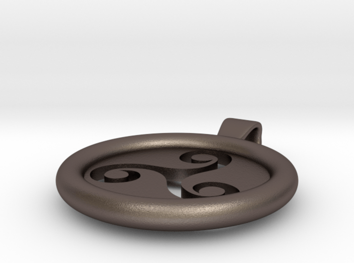 Triskell Hole Round Pendant 3d printed