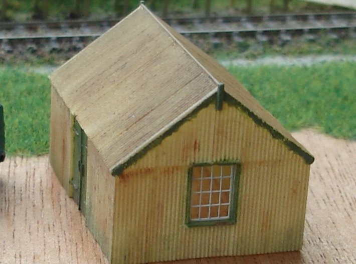 Corrugated Iron Shed 2mm/ft 1/152 (N scale) 3d printed Painted model, with Ratio etched brass window frames fitted.