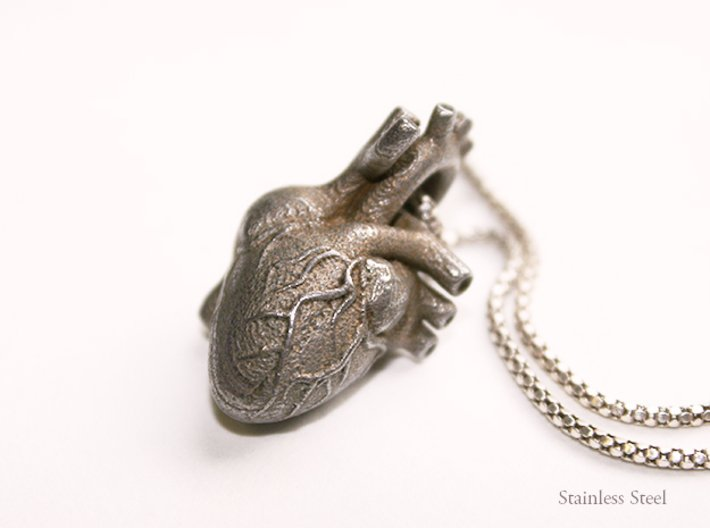 Anatomical Heart Pendant 3d printed Stainless Steel