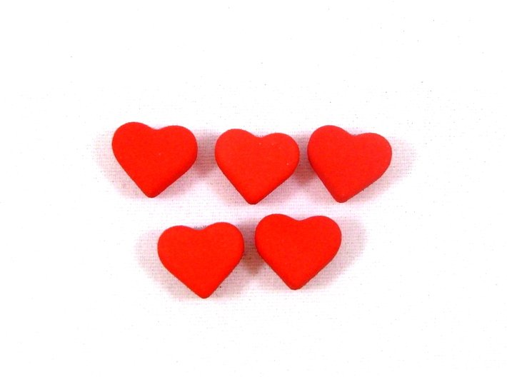 Robinson Crusoe Health Markers -- 5 Heart Tokens 3d printed The 5 hearts in this set will replace the red cubes in the game.
