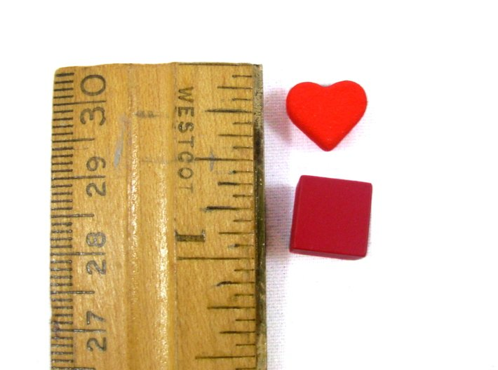 Robinson Crusoe Health Markers -- 5 Heart Tokens 3d printed A shot of the heart next to a ruler for sizing.