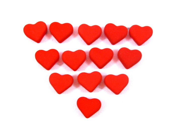 Love Letter -- Tokens of Affection, Set of 13 3d printed Photo of all 13 hearts in polished red strong and flexible.