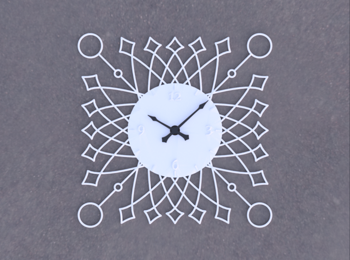 Sunburst Clock - Buttercup 3d printed Render of clock face with hands added