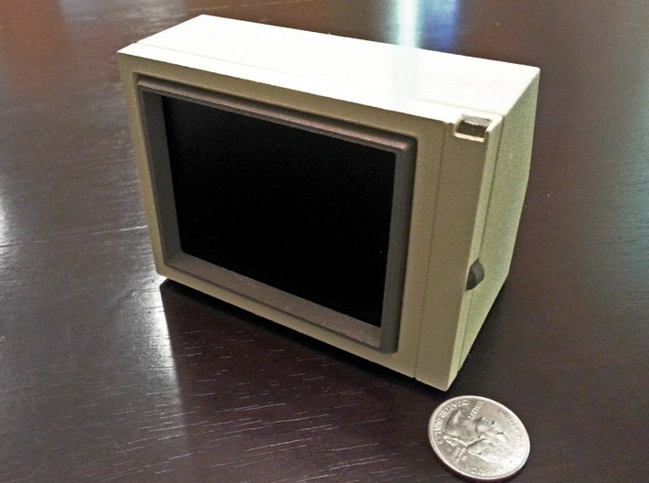 Apple Monitor II 3d printed Assembled, painted with 3.5'' LCD screen installed.
