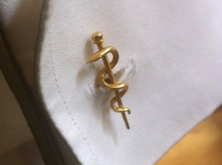 Snake rod cufflinks (medicine) 3d printed