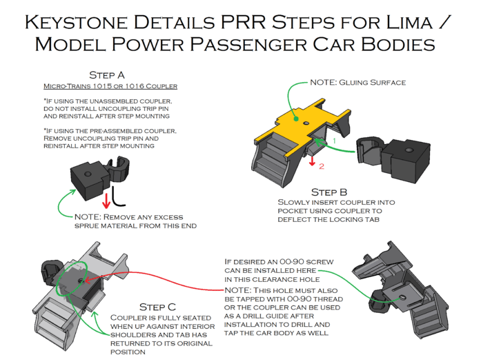 N Scale 4PK Steps for Atlas/ConCor/Rivarossi Heavy 3d printed Installation Instructions Page 1