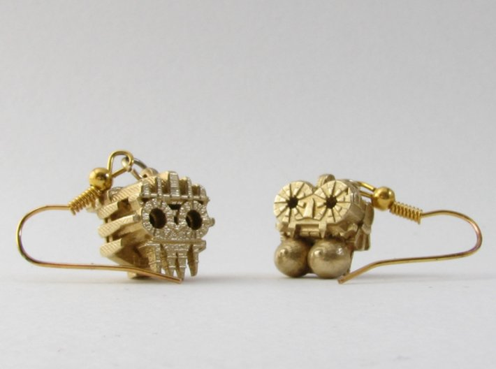 Aztec Bead Tlaloc FA 3d printed Tlaloc and Chantico as earrings