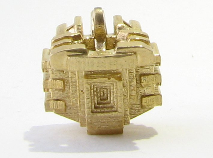Aztec Bead Tlaloc FA 3d printed Tlaloc from behind with ziggurat