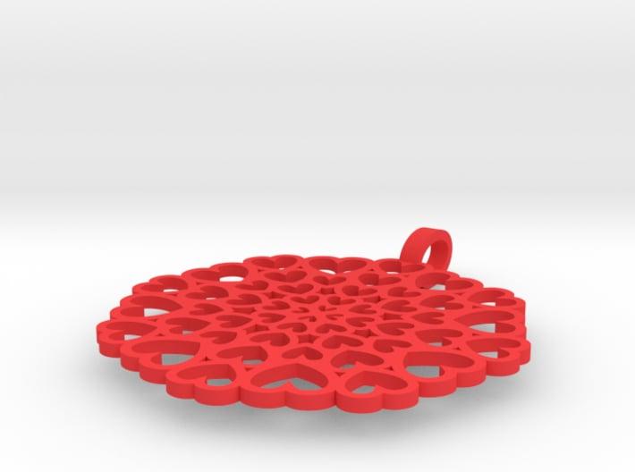 Pendant: Hearts disc 3d printed