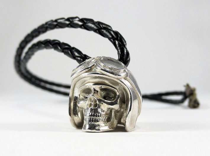 """Easy Rider Skull Pendant """"Silver"""" 3d printed 25mm H Pendant in Polished Silver"""