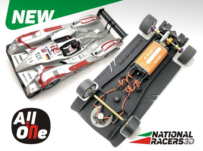 Avant Slot AUDI R10 TDI LMP1 (Inline-AiO) 3d printed Chassis compatible with Avant Slot model (slot car and other parts not included)