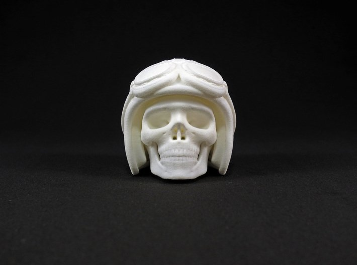 Easy Rider Skull (50mm H) 3d printed 50mm H in White Strong & Flexible