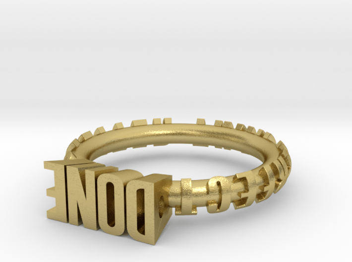 """ring """"Done is better than perfect"""" 3d printed"""