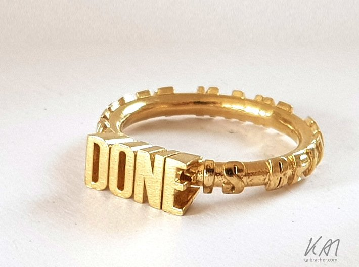 """ring """"Done is better than perfect"""" 3d printed ring """"Done is better than perfect"""" in brass and silver"""