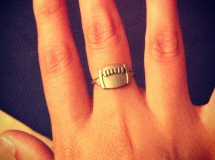 Jackie's Football Ring 3d printed Jackie's Football Ring in Polished Nickel Steel  (size 17mm)