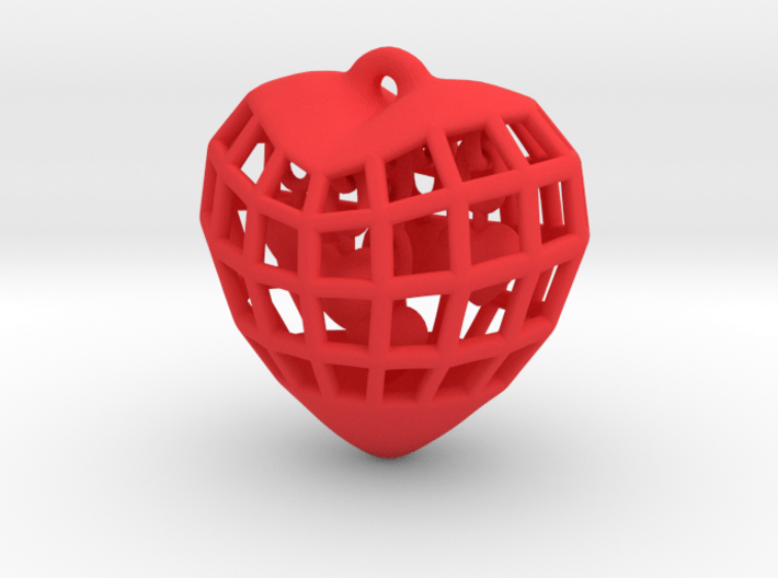 Hearts in Heart Pendant 3d printed