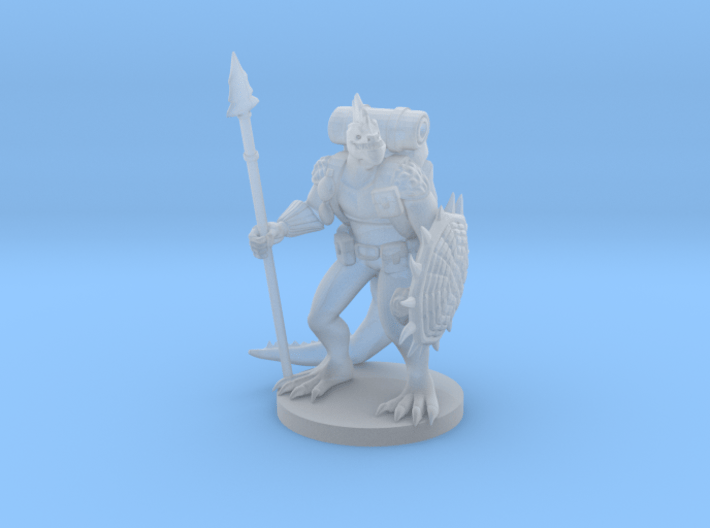 Lizardfolk Fighter with Shield and Spear 3d printed